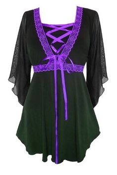 Dare To Wear Victorian Gothic Women's Plus Size Bewitched Corset Top Black/Purple 1x