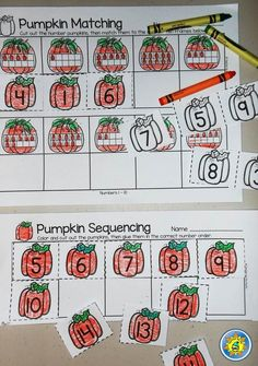 Pumpkin number sequencing and matching the ten frames. Great for fall math centers!
