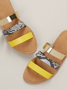 Neon And Snakeskin Strappy Flat Slide Sandals - Daily Fashion Toe Ring Sandals, Shoes Flats Sandals, Strappy Flats, Gladiator Sandals, Leather Sandals, Slide Sandals, Trendy Sandals, Cute Sandals, Cute Shoes