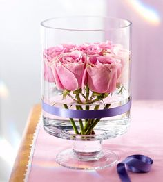 Pink-and-Purple Floral Centerpiece: Trim and bundle pink roses to fit inside a tall glass dish. The result? A gorgeous-yet-simple floral centerpiece for Easter. Wrap a purple ribbon around the base of the glass for an elegant final touch.    Editor's Tip: Use double-sided tape to adhere the ribbon.