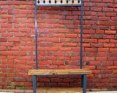 Hallway coat stand / wide coat rack by Redcottagefurniture on Etsy Shoe Storage Seat, Cast Iron Coat Hooks, Rustic Coat Rack, Coat Stands, Rustic Industrial, Handmade Furniture, Light Shades, Vintage Outfits, Outdoor Decor