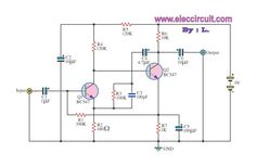 Simple pre-amplifier with transistors BC547
