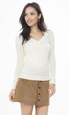 ribbed fitted v-neck sweater