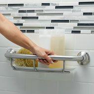 Grab bar and shelf. good idea most bath shelving is unreachable when seated