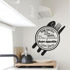 vinilo decorativo cocina buen provecho idiomas