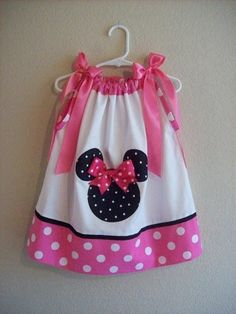 Custom Boutique Pillowcase Dress - MINNIE MOUSE - Pink Dot  Original Version  - DISNEY - Sizes Newborn thru Girls 6. $26.99, via Etsy.
