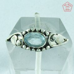 New Eternity Blue Topaz Stone 925 Sterling Silver Ring S.6 US R2927…