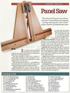 image of #382 Panel Saw Plans
