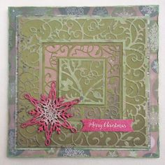 Gerry's Craft Room  CED7106 - The Background Collection - Swirly Vine  CED3020 - The Festive Collection - Snowflakes  CS0980 - Teksten - Christmas sentiments  6011/0394 - Paper bloc, 15x30cm - Let It Snow  GD-000-080 - VersaMagic Dew Drop - Aloe Vera  390113 - Mboss Embossing powder - White-Glitter    390101 - Mboss Embossing powder - Rouge Pink