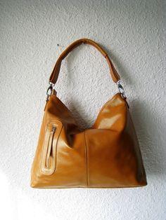 Leather handbag---Adeleshop handmade clip on hobo laptop messenger satchel shoulder cross body bag MEDIUM in Gold Brown