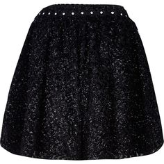 River Island Black textured embellished circle skirt ($6.44) ❤ liked on Polyvore featuring skirts, faldas, sale, textured skirt, circle skirts, river island, party skirts and skater skirts