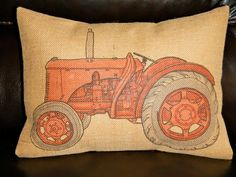 Red Tractor Burlap 12 x 16 Decorative Pillow by PolkadotApple, $22.95