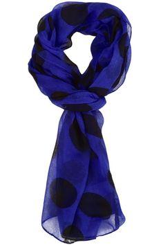 Cobalt Blue Polka Dot Scarf