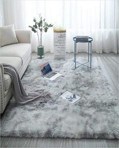 Shag Collection Area Rug Soft Comfy Rug for Bedroom Living Room Fluffy Faux Fur Carpet for Kid Nursery Plush Shaggy Rug Fuzzy Decorative Floor Rugs Contemporary Luxury Large Accent Rug Gray x Bedroom Carpet, Living Room Carpet, Rugs In Living Room, Fluffy Rugs Bedroom, Bedroom Rugs, Bedroom Decor, Rug Over Carpet, Fur Carpet, Gray Carpet