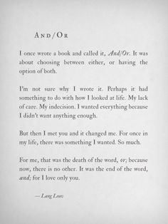 And/Or~Lang Leav