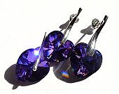 Handmade Earrings Pendant, Swarovski Heart Heliotrope Crystal, Sterling Silver, Stud Earrings, Mauve, Violet