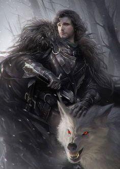 Jon Snow and Ghost ~ Game of Thrones Fan Art