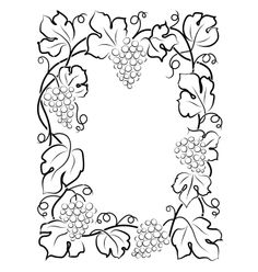Black calligraphy frame wine label vine grapes vector on VectorStock