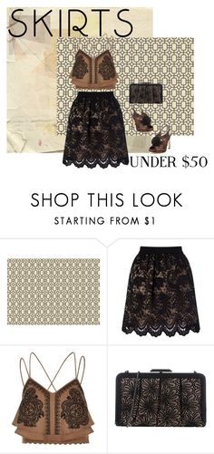 """""""under fifty"""" by shannonsmilez ❤ liked on Polyvore featuring Ethan Allen, Lipsy, River Island, LP by PERFETTO, under50 and skirtunder50"""