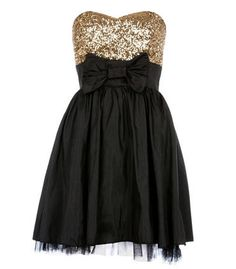 Black/Gold Sequin Top Skater Dress