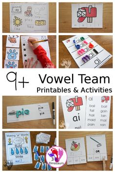 9+ Vowel Team Printables & Activities - with wall cards, puzzles, hands-on learning, no-prep printables and more all working on vowel team words - 3Dinosaurs.com #vowelteam #learningtoread #handsonreading #3dinosaurs #secondgrade #thirdgrade Spelling Activities, Reading Activities, Teaching Reading, Teaching Kids, Kids Learning, Activities For Kids, How To Teach Kids, Beginning Reading, Free Coloring Pages