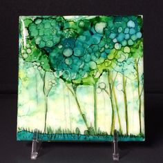 Green Trees, An Original Ceramic Tile, Hand Painted OOAK Alcohol Ink with Waterproof resin and cork backing by YakiArtist -
