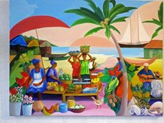 TABLEAU PEINTURE le marché aux antilles - voyage aux antilles Art Haïtien, Haitian Art, Beach Watercolor, Quirky Art, Cottage Art, Safari Theme, Z Arts, Art Original, Naive Art