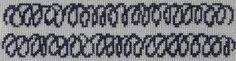Cross stitch repetition doodle design by Tanja Skudstrup inspired by the work of Kierkegaard. Bookmark, key string, belt, tablecloth border or...