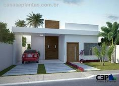 New house front elevation porches ideas Single Floor House Design, House Front Design, Modern House Design, Flat Roof House, Facade House, Style At Home, Bungalow Haus Design, Modern House Facades, House Elevation