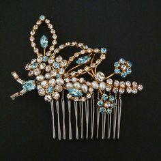 Vintage Rhinestone Floral Pearl Hair Comb, Bridal vintage hair combs by Slonik77