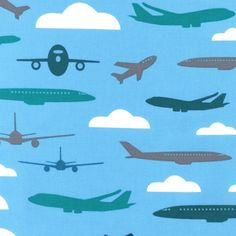 Boy Toys quilt or craft fabric by Print and Pattern for Robert Kaufman- Airplanes in Sky, 1 yard or by the yard. $9.50, via Etsy.