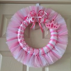 "Two alternating shades of pink and white tulle around a wreath. Hand painted wood ""princess"" letter and heart in light pink. Crown with jewels wood plaque. Handmade ribbon bow to match. Wreath measures approximately with the tulle. Christmas Mesh Wreaths, Deco Mesh Wreaths, Holiday Wreaths, Winter Wreaths, Floral Wreaths, Spring Wreaths, Baby Boy Wreath, Red Champagne, Tulle Wreath"
