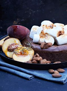 Crazy Chocolate Cake with Marshmallows, Smoked Peaches and Smoked Almonds