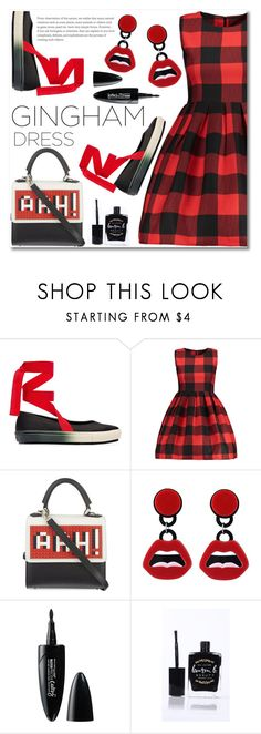 """""""Gingham dress"""" by fshionme ❤ liked on Polyvore featuring Marni, Les Petits Joueurs, Maybelline, Lauren B. Beauty, StreetStyle, Spring and statementshoes"""