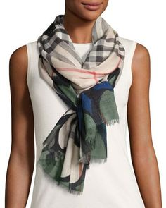 BURBERRY Scalloped Wool-Blend Check Scarf, Green. #burberry #