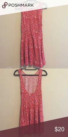 Pink floral ecoté dress Pink floral low back skater dress! Worn once. Ecote Dresses Mini