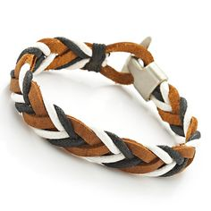 Trendy Mens Woven Brown White Black Leather Bracelet Cuff