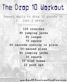 How to Loose 10lbs In 2 Weeks! Doubt you'll loose 10lbs but it seems like a good workout