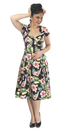 Collectif Flared Dresses Hawaiian Regina Doll Hibiscus