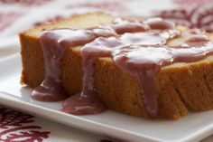 Cream Cheese Pound Cake with Strawberry-White Chocolate Sauce from Bake or Break