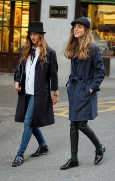Chic European duo in hats and flats.