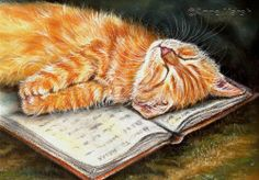 GINGER CAT KITTEN HOW TO RELAX LIMITED EDITION PRINT OF PAINTING ANNE MARSH ART | eBay