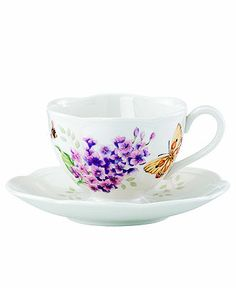 Lenox Dinnerware, Butterfly Meadow Butterfly Cup and Saucer Set - Casual Dinnerware - Dining & Entertaining - Macy's