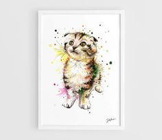 Pusy Cat Animals  A3 Art Prints of the Original by NazarArt, $15.00