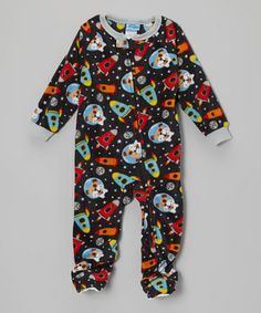 Bedtime becomes fleecy fun time in this cozy, colorful footie. A front zipper makes it easy to get on and off, while textured soles ensure no-slip trips down the hall for goodnight kisses.