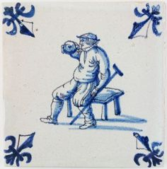 Antique Dutch tile with a disabled man drinking from a bottle, 17th century