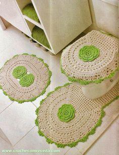 jogo de tapete para banheiro com flores em croche com receita