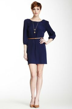 Scoop Neck Belted Dress by Pink Owl
