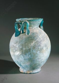 Glass vase uncovered in Pompeii, Campania, Italy. Roman Civilisation. Naples, Museo Archeologico Nazionale (Archaeological Museum)