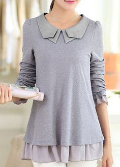 Patchwork Grey Peter Pan Collar Frill Hem Blouse on sale only US$25.90 now, buy cheap Patchwork Grey Peter Pan Collar Frill Hem Blouse at lulugal.com